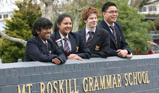 200810 NEWS Photo: Jason Oxenham/Fairfax Media. From left - Ajay Ravindran, Manasi Deshpande, Jason Walls & Ryan Puertollano from Mt.Roskill Grammar have won the first P3 Foundation Social Enterprise Competition for their proposal to host an educational expo on the dangers of alcohol abuse for young people in their community.